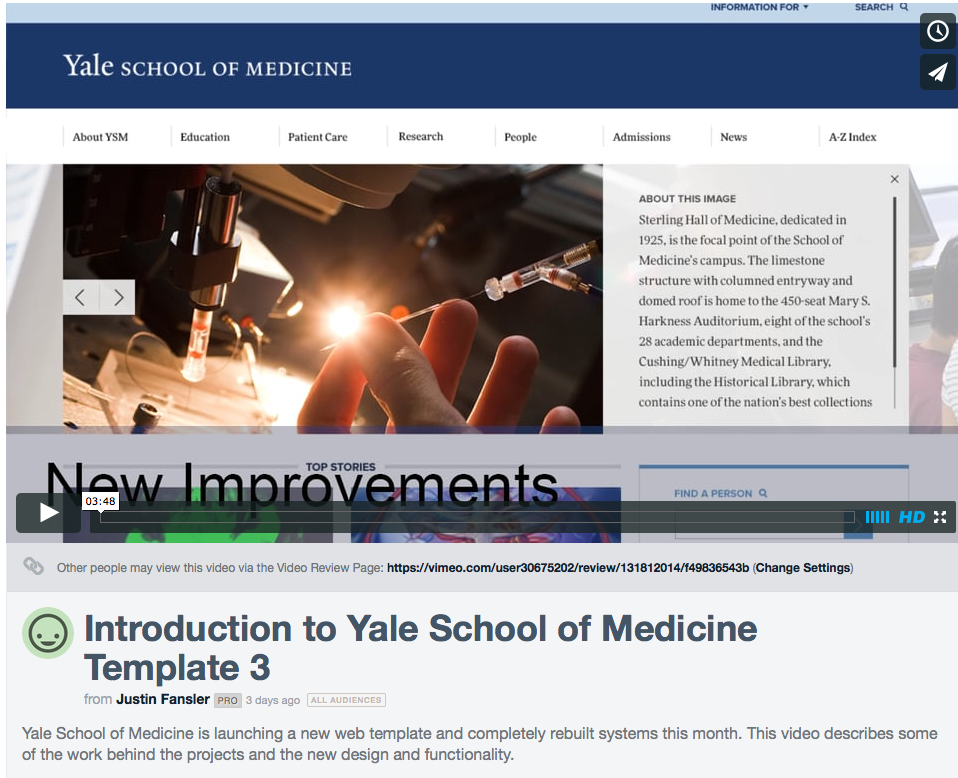 Video Introduction To Template And Profile System Web Support Services Office Of Communications Yale School Medicine