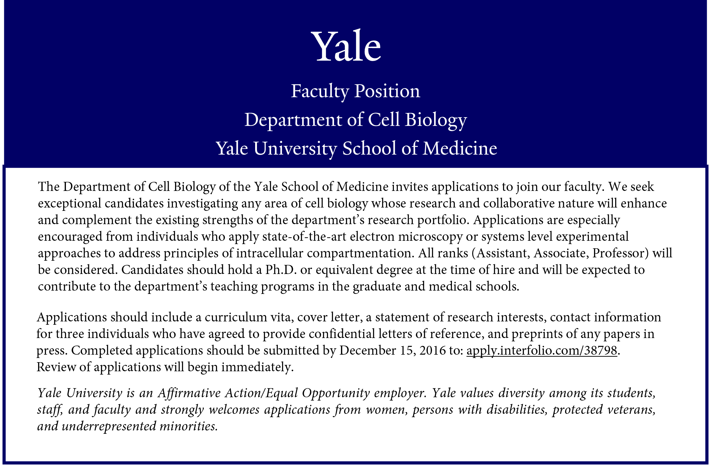 cell biology faculty positions cell biology yale school of medicine
