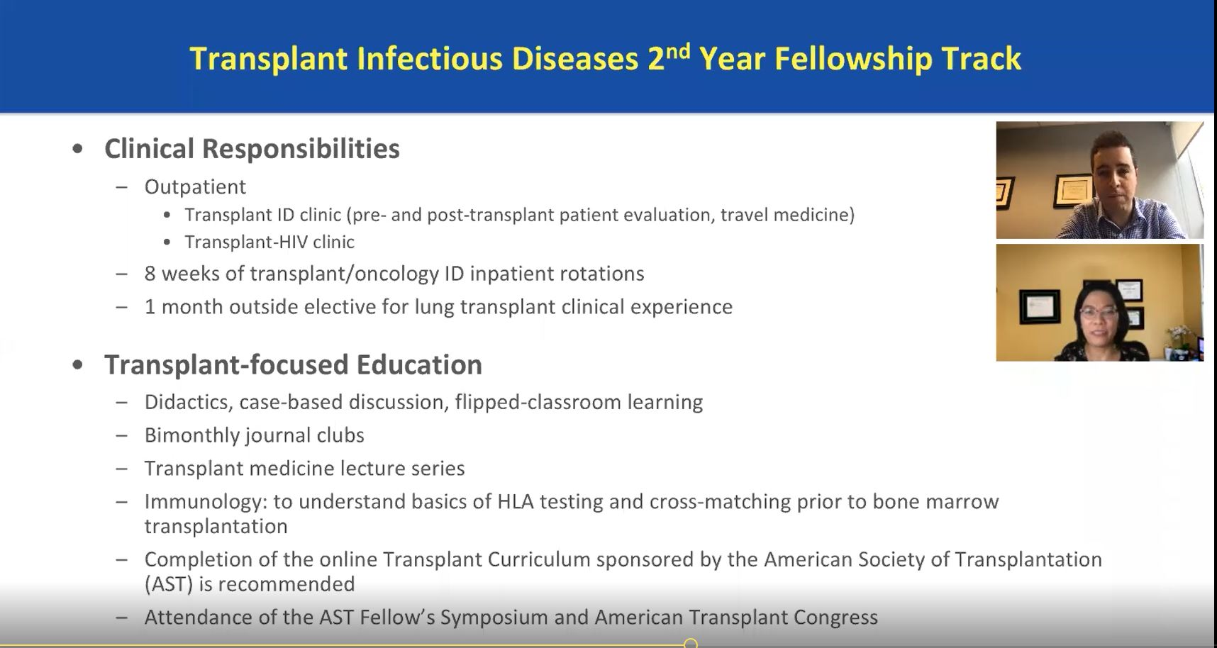 Transplant Infectious Diseases 2nd Year Fellowship Track